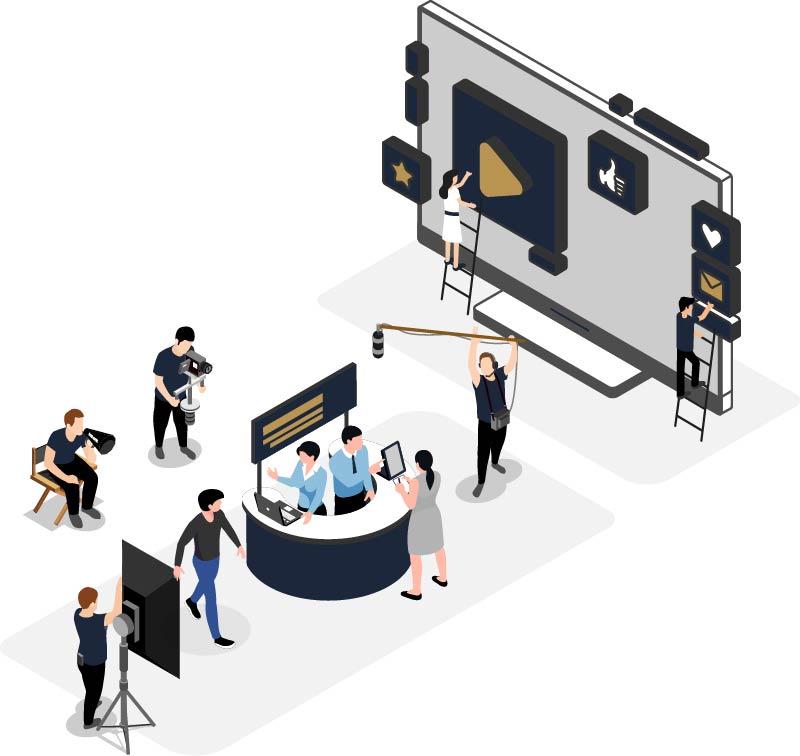 Isometrische Grafik Videoproduktion