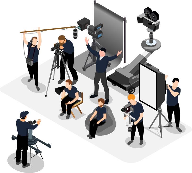 Isometrische Grafik Videoteam
